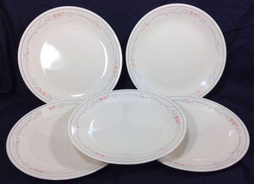 Corelle Rose Dinner Plates Lot 5