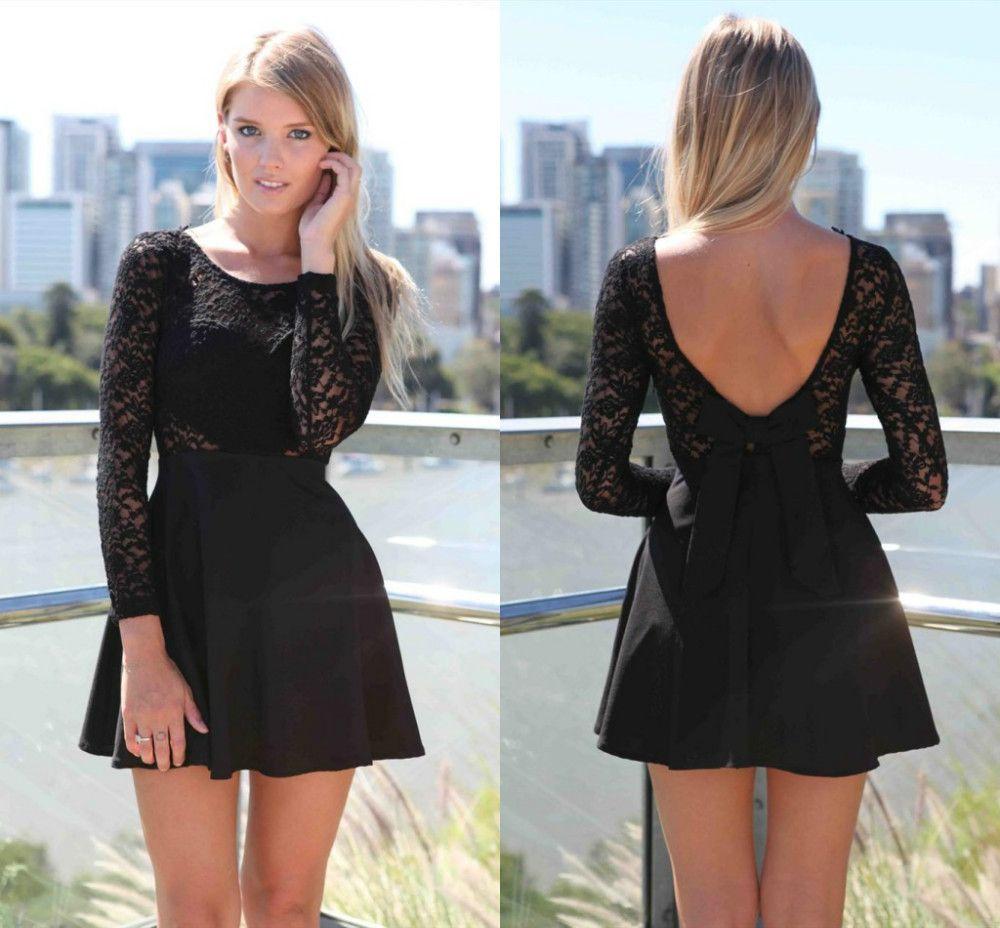 Modas de vestidos cortos manga larga
