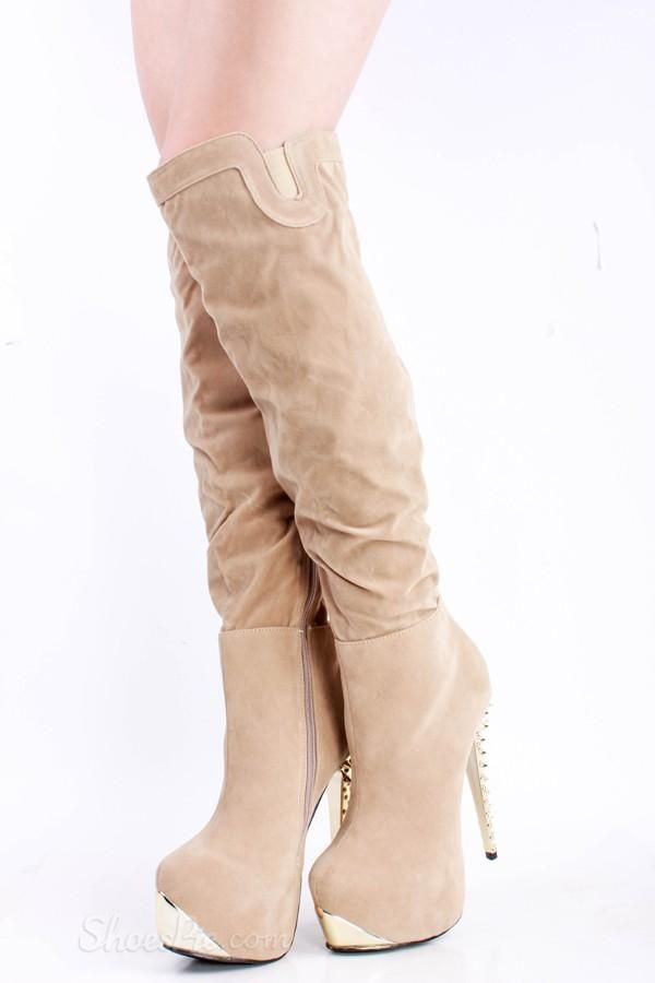 love Fashionable Beige Suede Knee High Boots with Rivets | Wedge ...