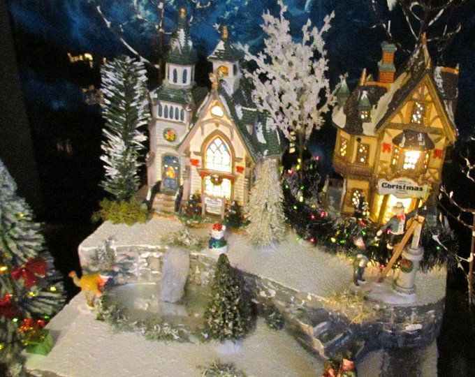 Custom Christmas Village Display Platform (Lemax, Department 56, snow village) #halloweenvillagedisplay