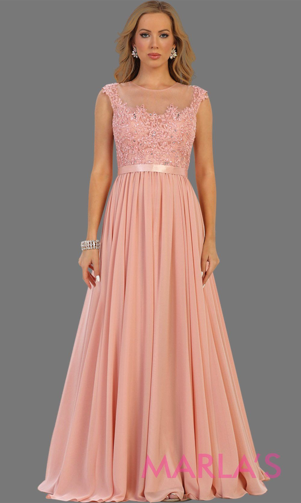 146cc5a3a57 long blush pink dress with sheer lace bodice. It has a lace illusion  neckline and