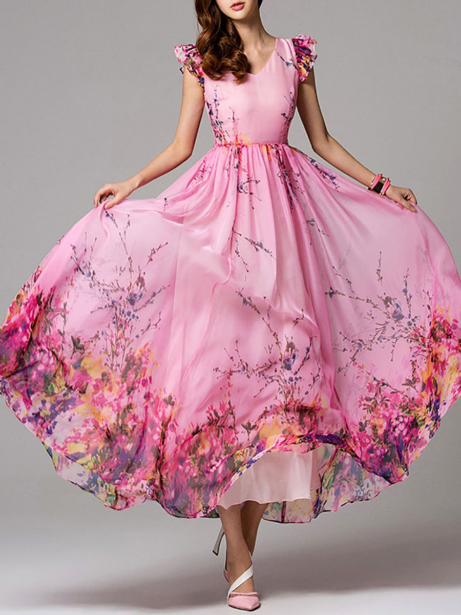 Flower print wedding gown  Pink Floral Frill Sleeve V Neck Maxi Dress  Casual maxi dresses