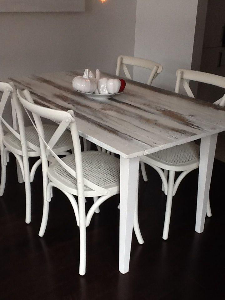 Table Avec Plateau En Bois De Grange, Badigeon Peinture De