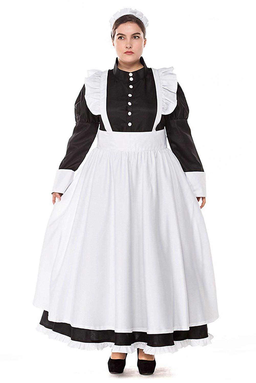 Big Fat Extra Size Costume British Style Maid Costume Dress Coffee
