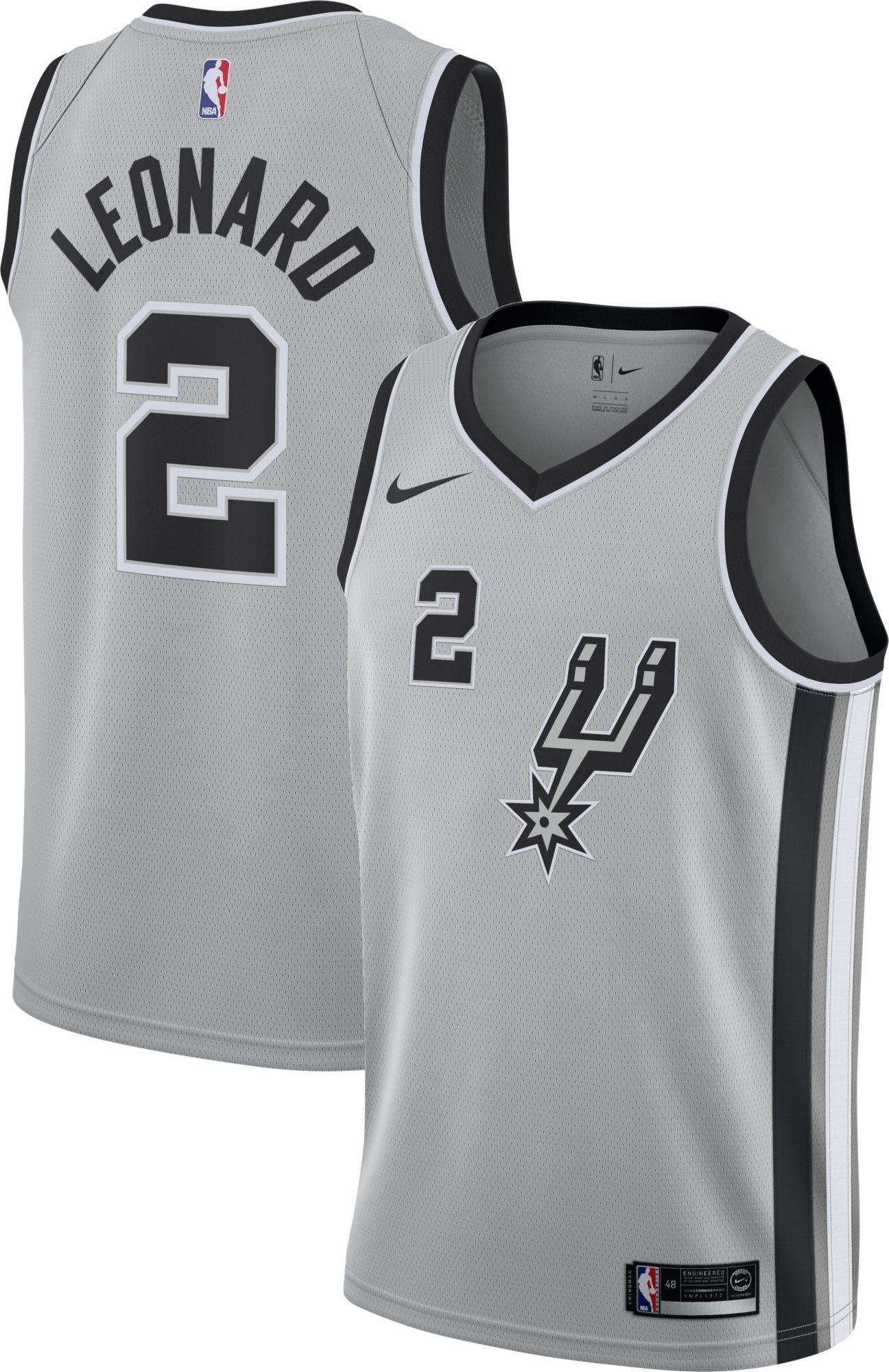 348c2455 Nike Men's San Antonio Spurs Kawhi Leonard #2 Grey Statement Dri-FIT  Swingman Jersey, Size: XXL, Team