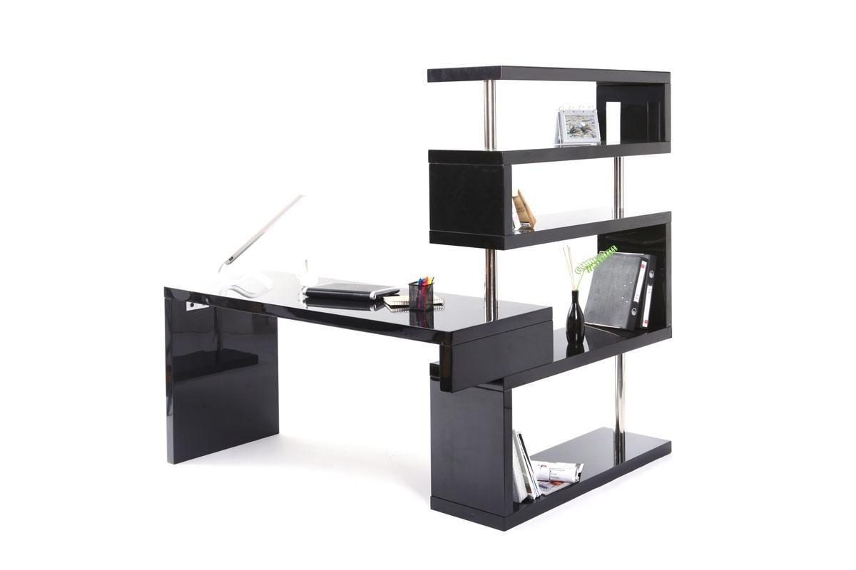 Bureau design noir laqué amovible t max prix promo miliboo