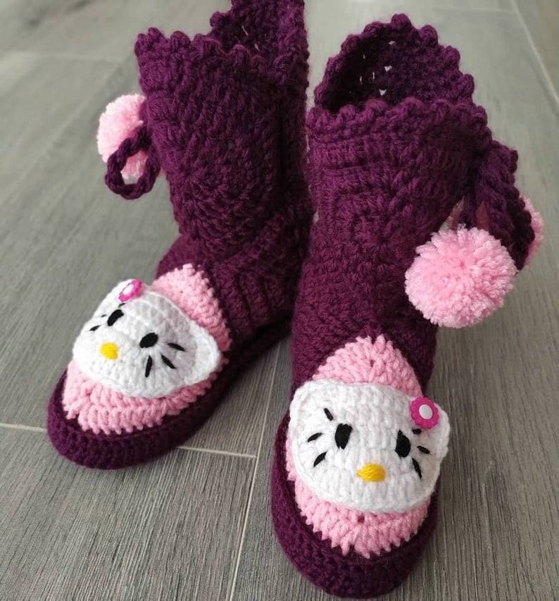 Hello Kitty Slippers for Baby Girls, Purple Indoor