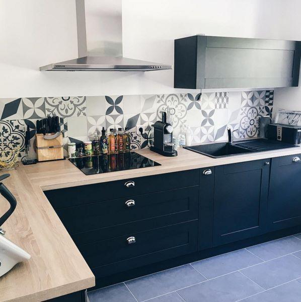 cuisine bleu marine ideas for the house pinterest deco d co maison et cuisines deco. Black Bedroom Furniture Sets. Home Design Ideas