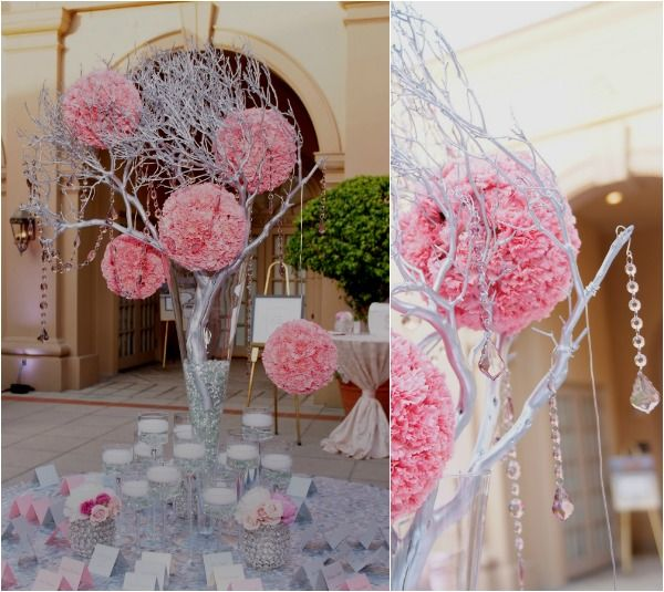 Pink Pomander Wedding Centerpieces Hanging on Silver Tree with ...