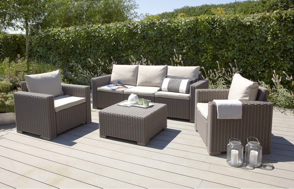 California Three Seater Lounge Set In Taupe With Images