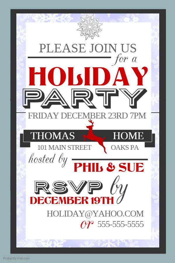 Christmas Holiday Party Event Poster Template  Christmas Poster