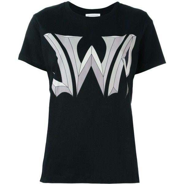 J.W.Anderson Logo Print T-Shirt ($172) ❤ liked on Polyvore featuring tops, t-shirts, black, j.w. anderson, cotton tee and cotton t shirts