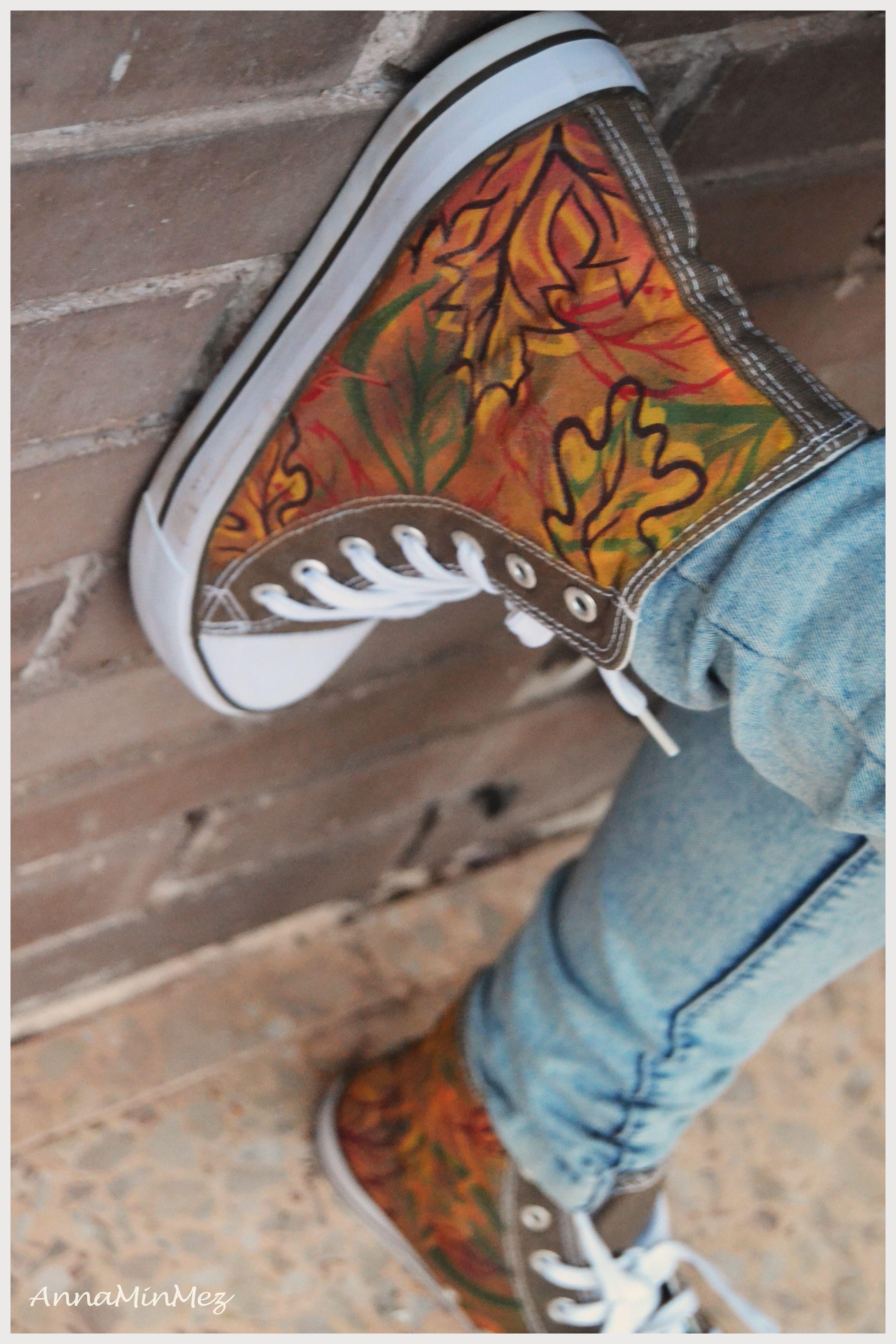 #Leaves #Autumn #hand_made #Converse #AnnaMinMez #Design #Illustration