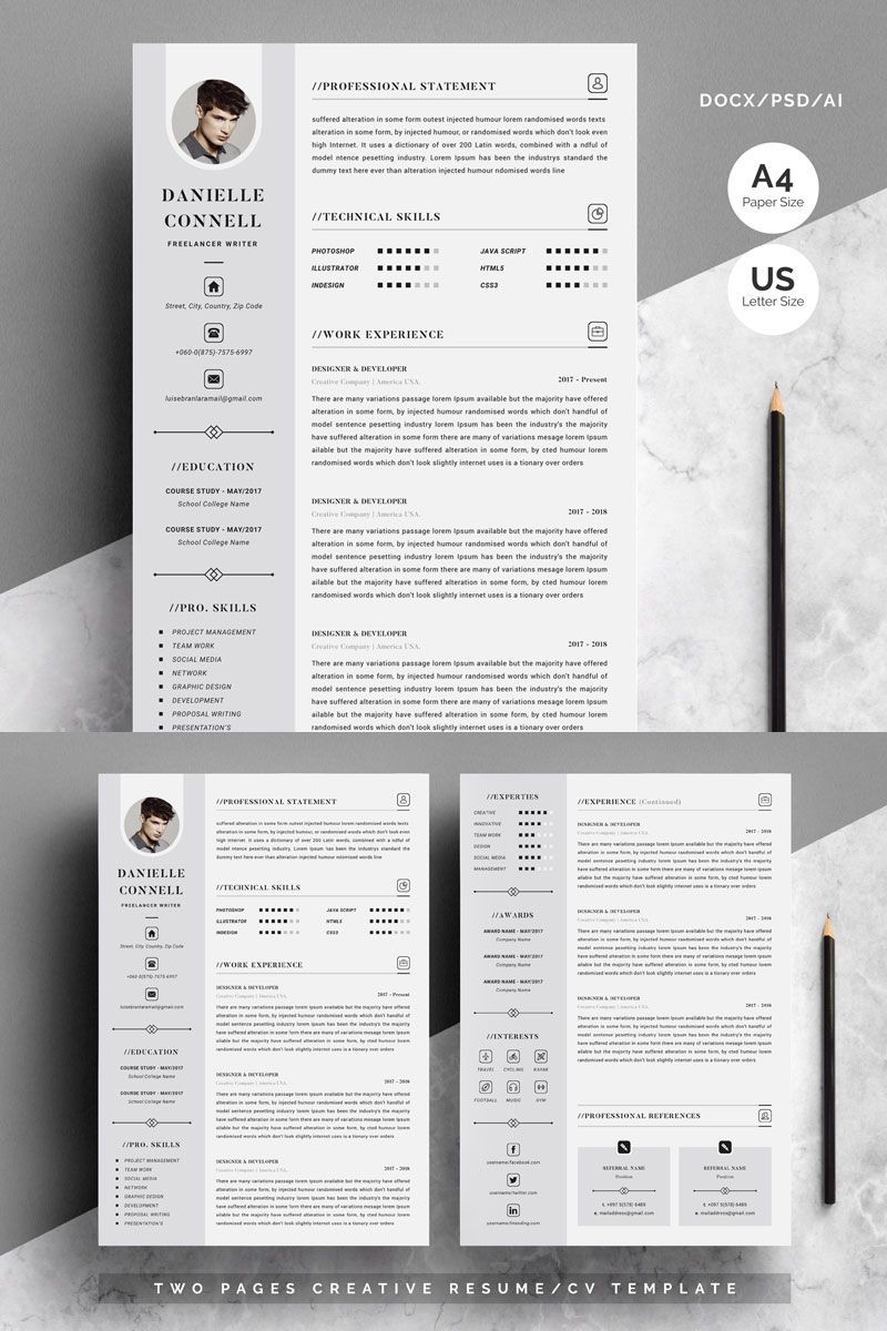 Danielle Connell 4 Pages Resume Template 79738