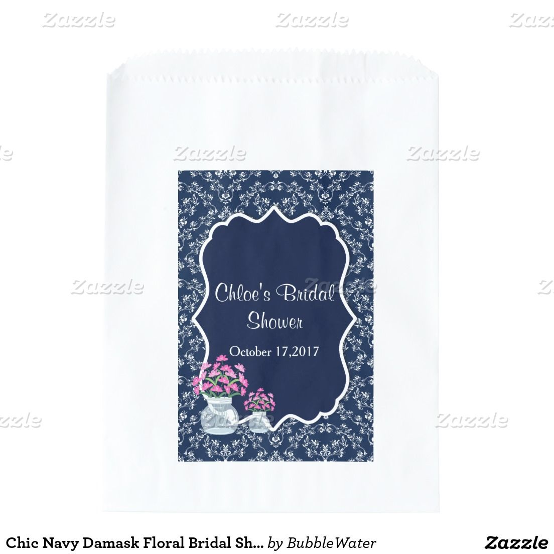 Chic Navy Damask Floral Bridal Shower Favor Bags | Zazzle Wedding ...