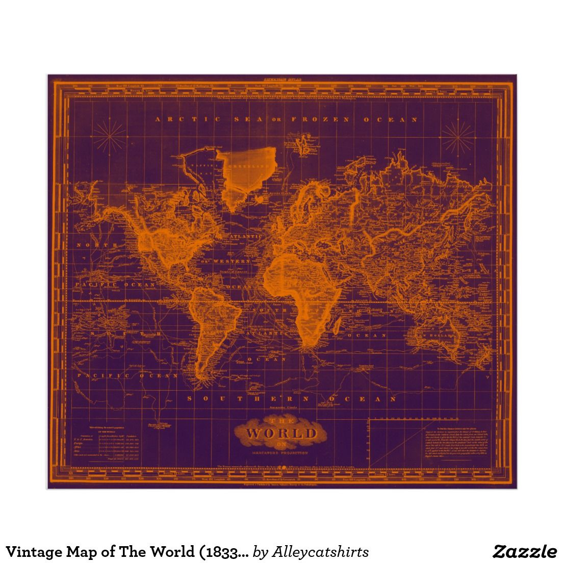 Vintage map of the world 1833 purple orange poster vintage vintage map of the world 1833 purple orange poster gumiabroncs Gallery