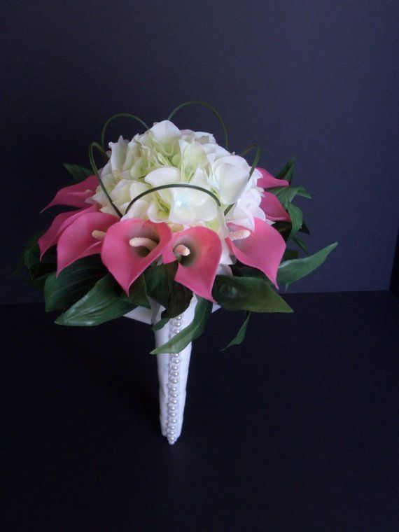 Calla Lily Wedding Bouquets Packages   Pink Calla Lily and Hydrangea Bridal Bouquet, Pearls on Bouquet Holder ...
