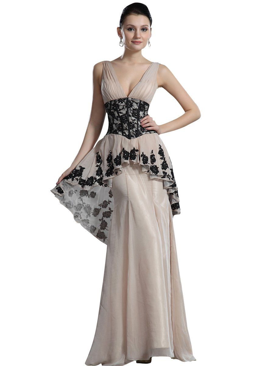 Vampal champagne peplum mermaid vneck chiffon prom dress with black