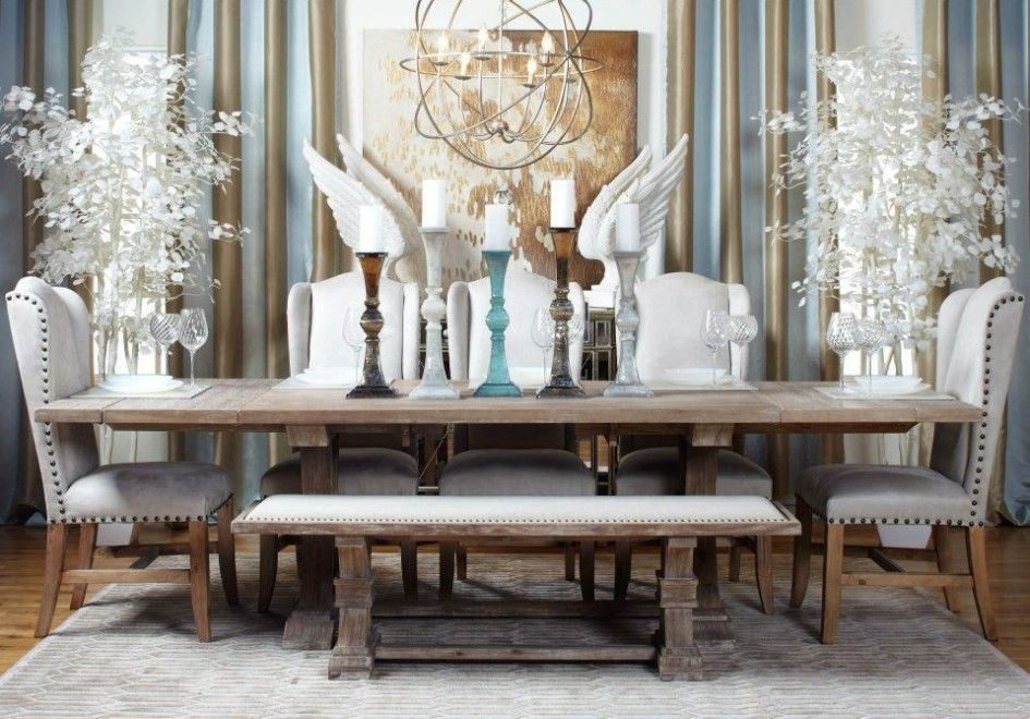 Dining Room Luxury Upholstered Bench With Replaceable White Leather And Log Wooden Table Under Unique Chandelier The Application Of