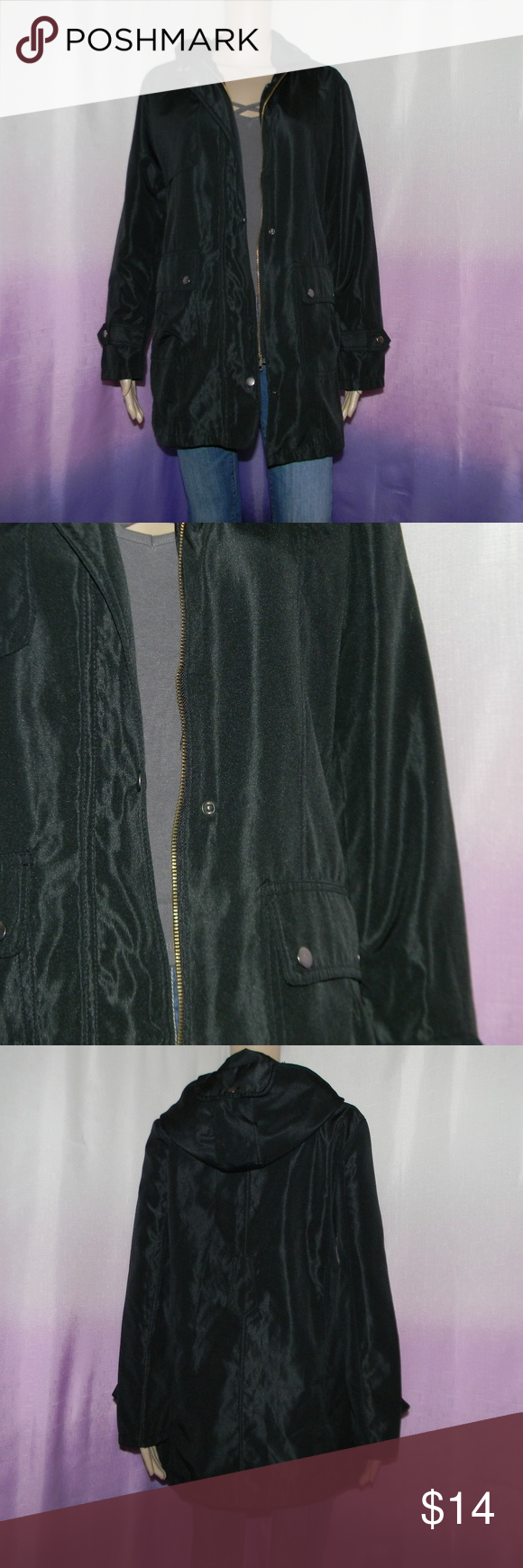 "Vintage Black Jacket Size large, very good condition, no material tag, 20.5"" bust, 30.5"" long, 24"" sleeve, worn 10-12 times -Sorry NO TRADES and NO HOLDS -Ships from California -Comes from smoke free, dog friendly homes -I can't model at this time, the mannequin measurements are 32.5"" bust, 24"" waist, 34"" hips, and is 5'10"" and a size S/M -Items are measured by hand and done laying flat Jackets & Coats"