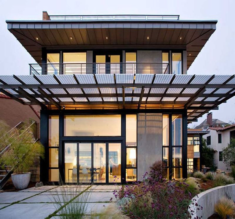 Glass front houses home home houses oakland for Japan home design style