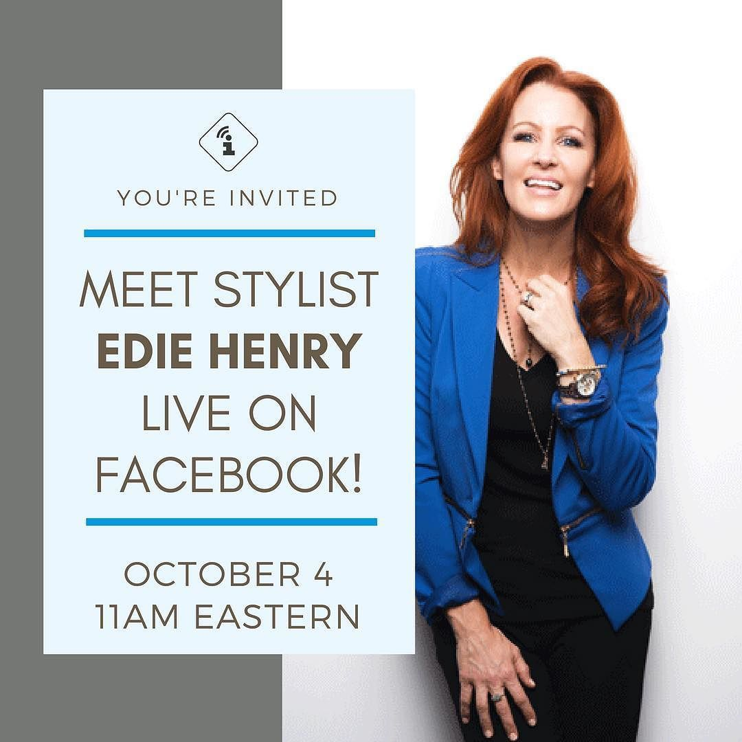 Youre invited to meet Edie Henry in an informal Facebook Live interview! Click the link in our bio to get to our Facebook page. #AustinStylist #VirtualStylist #MeettheExpert @edithhenrystyle