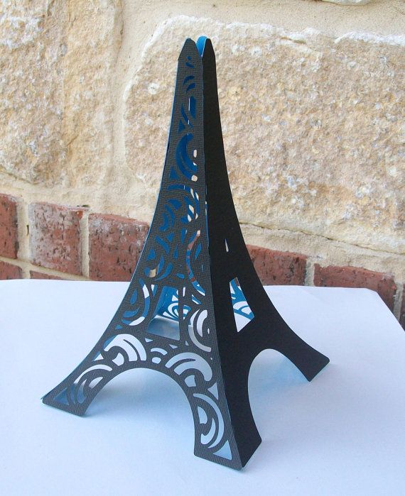 3D Eiffel Tower Table Centerpiece   Cake Topper   In Black With Parisian  Blue Interior   FULLY ASSEMBLED