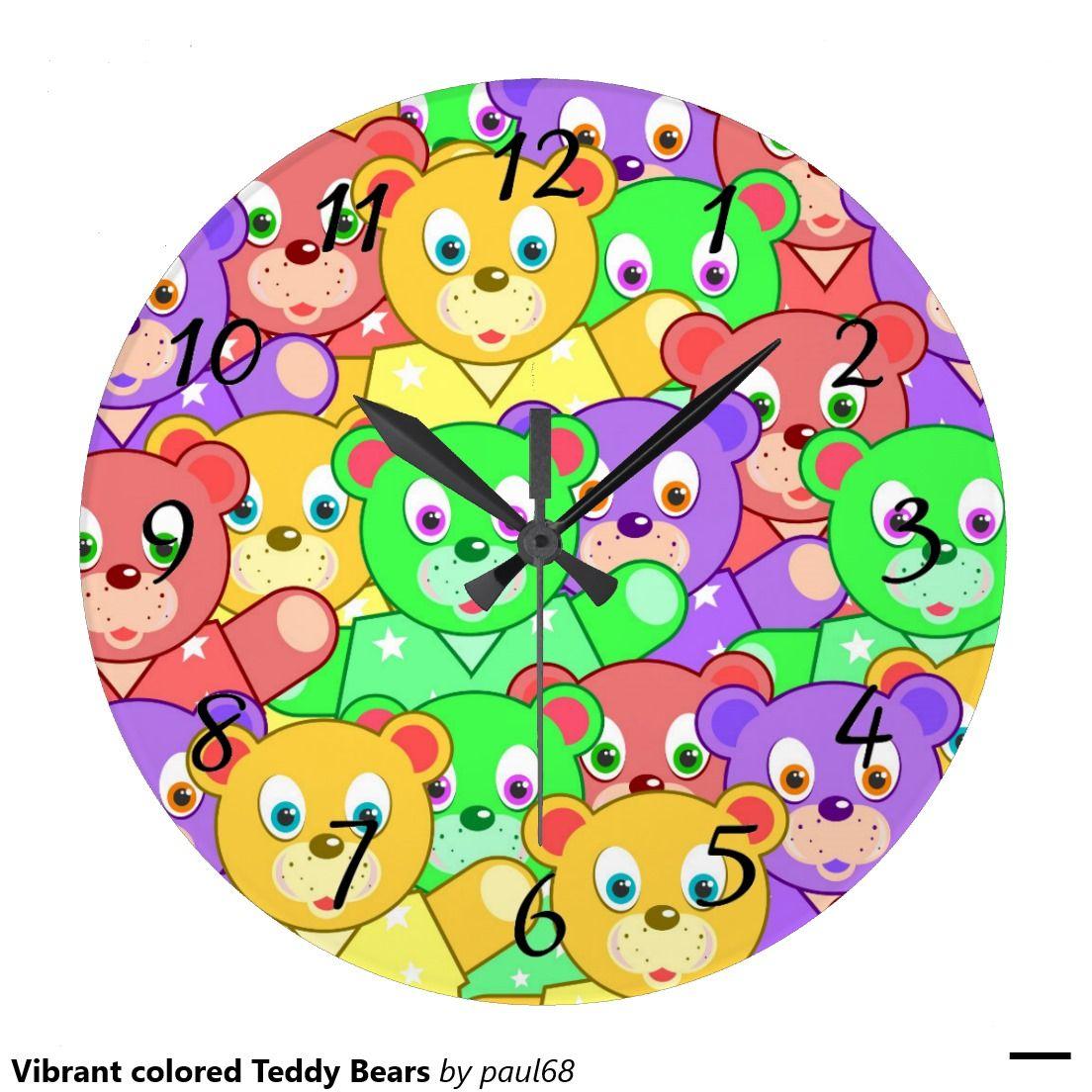 Vibrant colored Teddy Bears Wall Clock