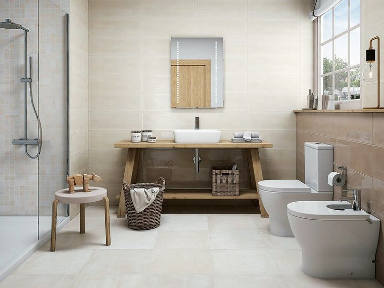 Idea piastrelle bagni piccoli mobile con lavabo da appoggio