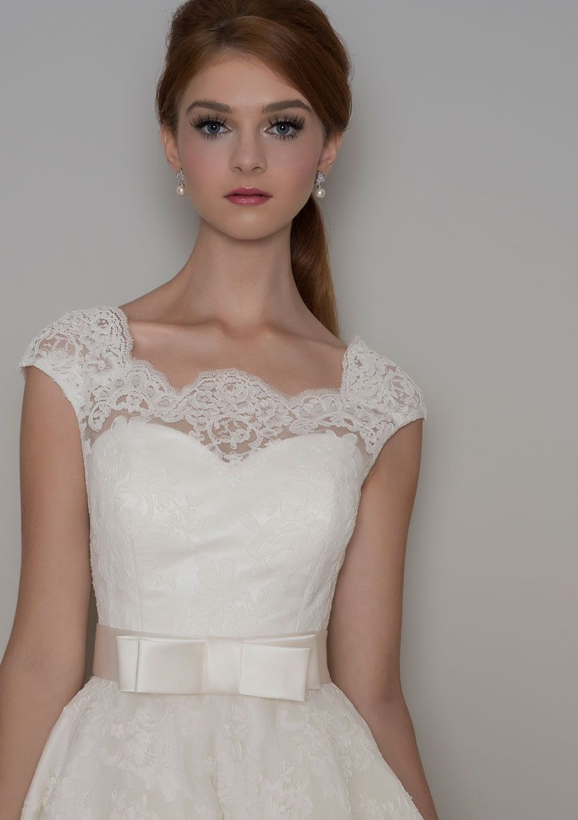 Florrie corded lace tea length wedding dress with a cap sleeve