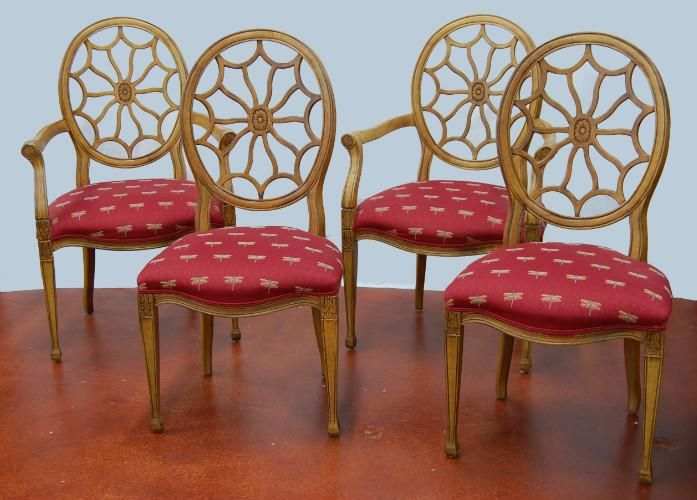 Spider Back Chairs By Fairfield With Dragonfly Pattern Upholstery