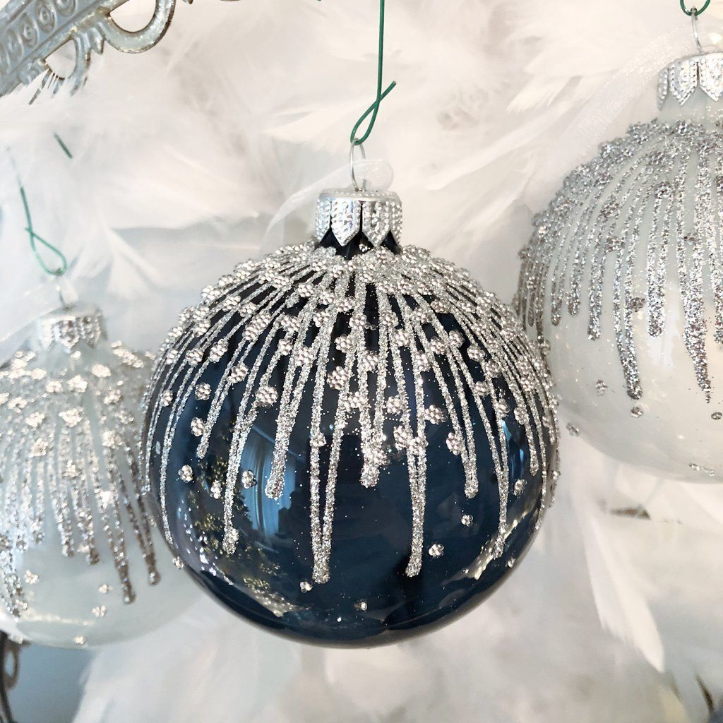 Glitter Lines Handmade European Glass Ornaments Glass Ornaments Painted Ornaments Ornaments