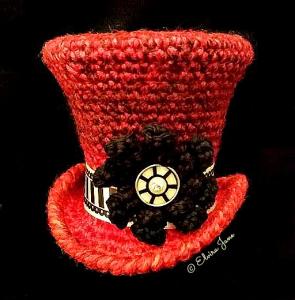 Mad Hatter Style Crochet Top Hat Fascinator designed and handmade by © Elvira Jane 2014