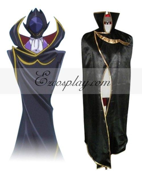 Click to Buy << Code Geass Lelouch Zero Black Cloak Cosplay Costume E001