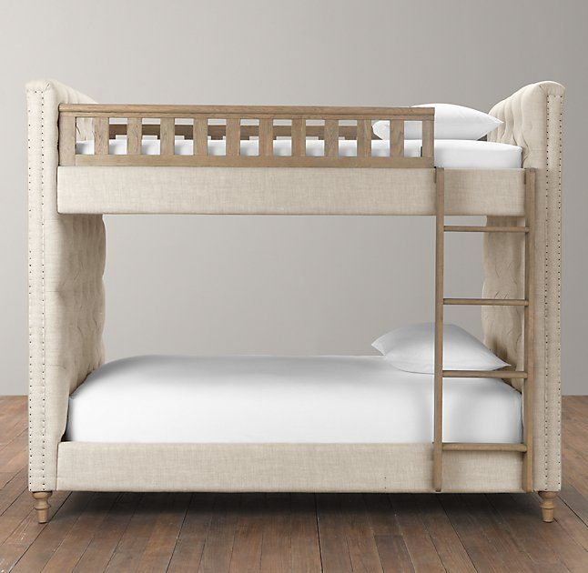 Rh Baby Child S Chesterfield Tufted Bunk Bed Generous Padding And