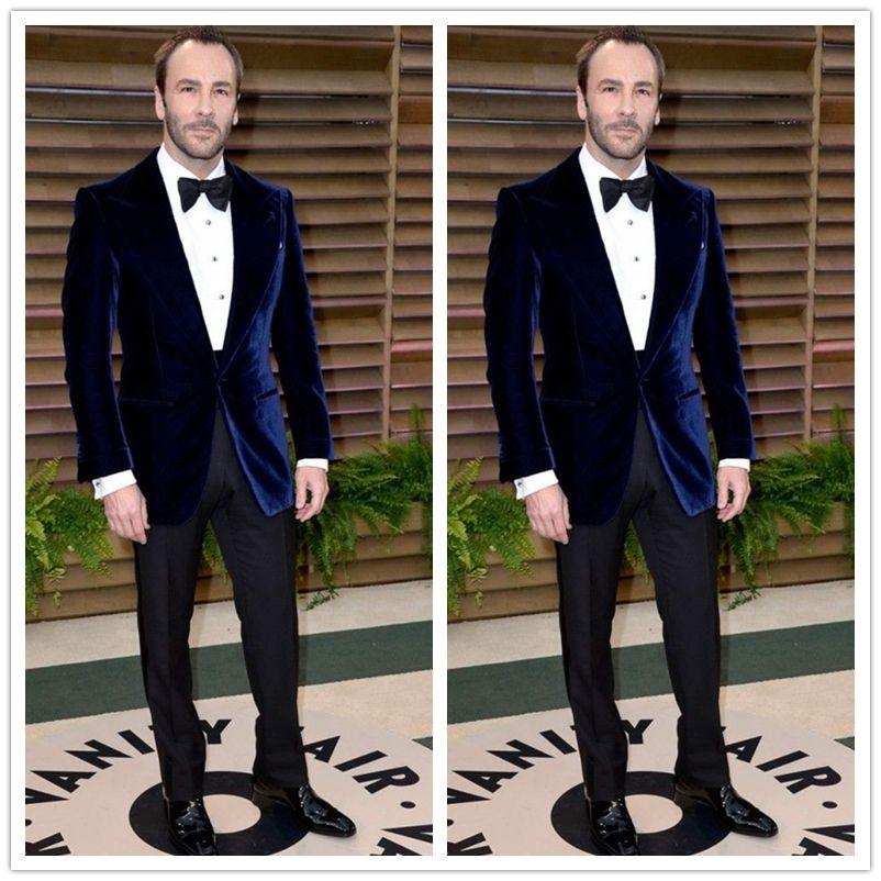 Latest Coat Pant Designs Navy Blue Velvet Blazer Slim Fit Mens