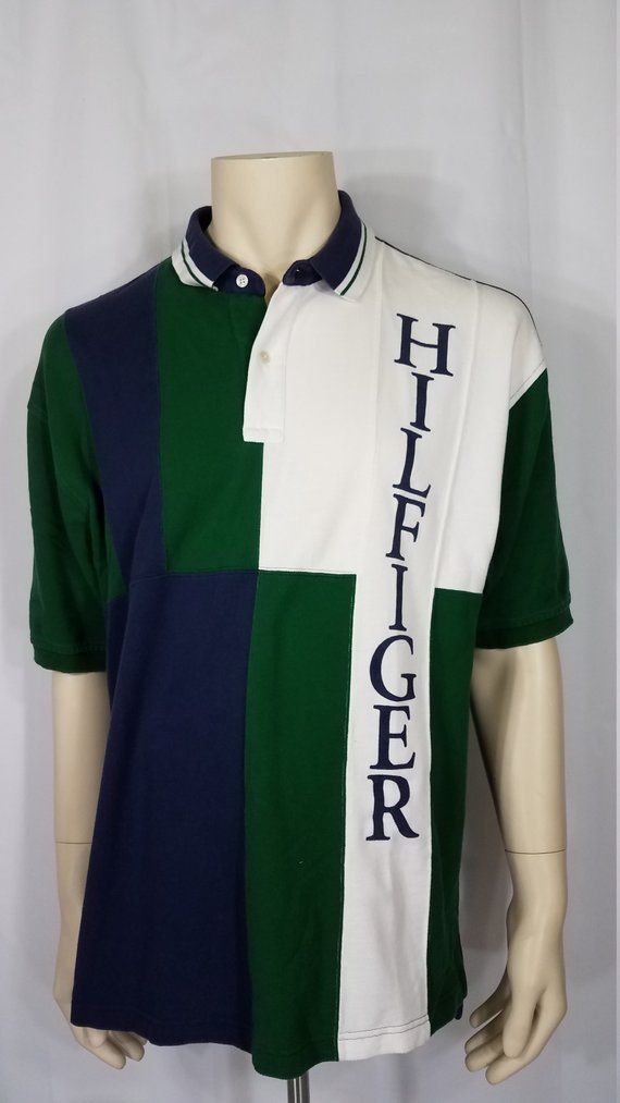 adbb2550 Vintage Tommy Hilfiger navy blue, green, & white color block spell out logo  polo shirt, men's size X