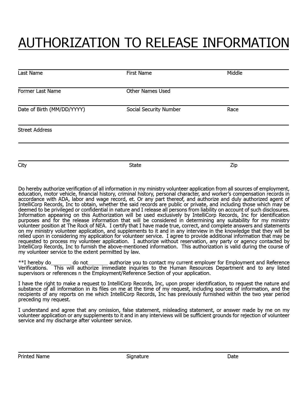 Church Nursery Background Check Form