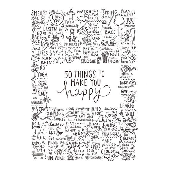 50 Things To Make You Happy Hand Drawn Inspiration By Indieberries