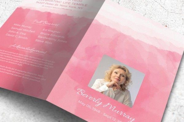 Watercolor Funeral Brochure Template Word Format Des - get - funeral brochure template