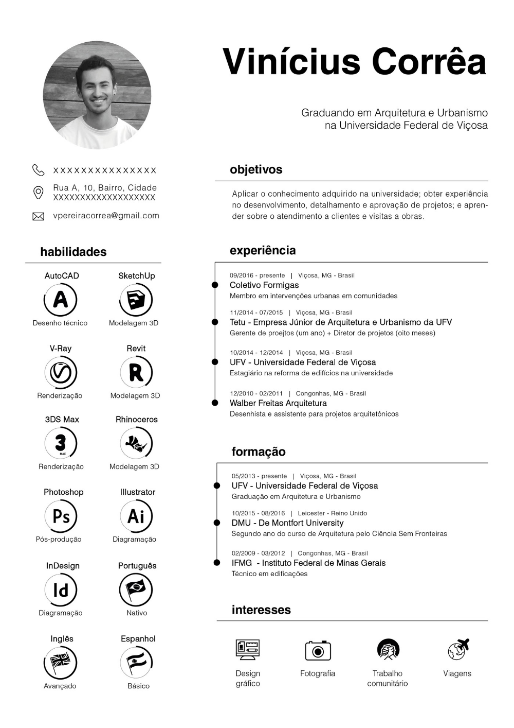 Cv Resume Vinicius Correa On Behance Graphic Design Resume Resume Design Creative Architecture Resume