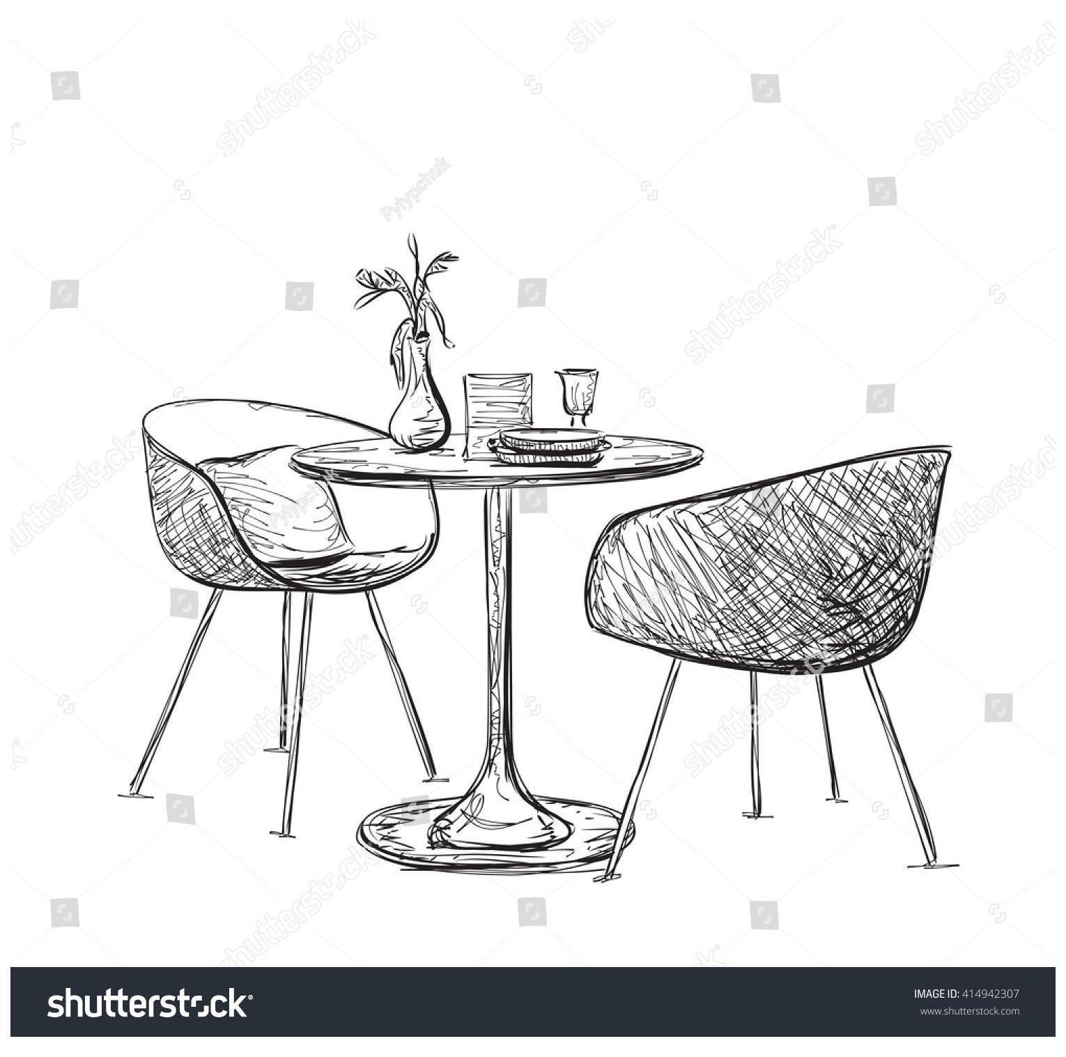 Sketch Modern Interior Table Chairs Hand Stock Vector Royalty Free 414942307 Sketch Of M In 2020 Interior Design Sketches How To Draw Hands Furniture Design Sketches