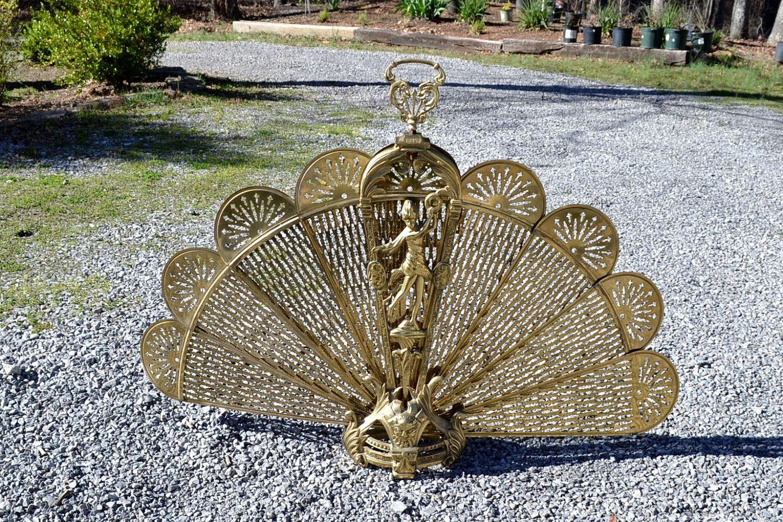brass peacock fireplace screen good this art deco brass peacock