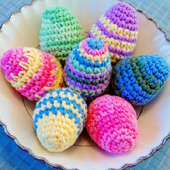 Work up a bunch of the colorful crochet eggs for your Easter decor ...