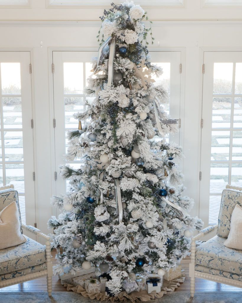 Christmas tree flocked long needle pine christmas tree flocked tree blue decor b… | Elegant ...