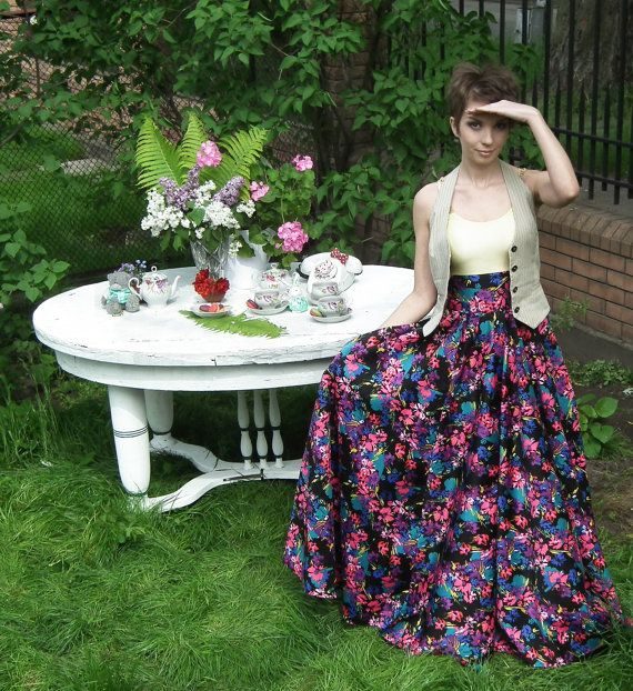 Maxi Skirt, Circle skirt, , Full Cotton Skirt, Floral Skirt, Long Floor length skirt, Bridesmaid Skirt, Prom Dress