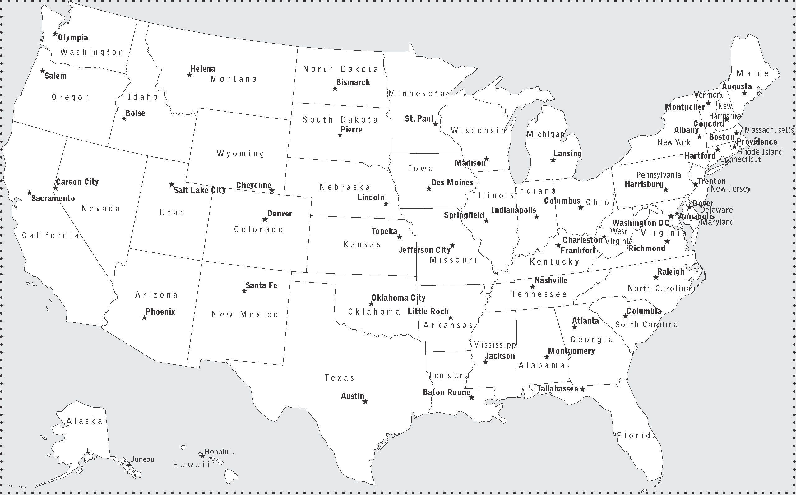 Usa Map With States And Capitals For Kids Interactive Usa Map - Map of us with capitols