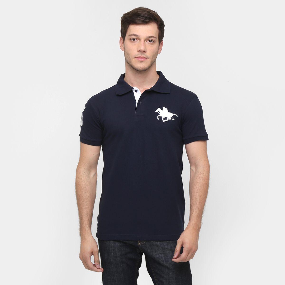 Camisa Polo RG 518 Piquet Básica Masculina - Marinho  a2e05b77f1f2e