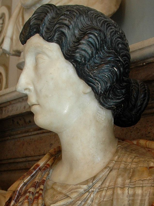 Woman, possibly Lucilla - profile, Roman bust (marble), 2nd century AD, (Palazzo Nuovo, Rome).