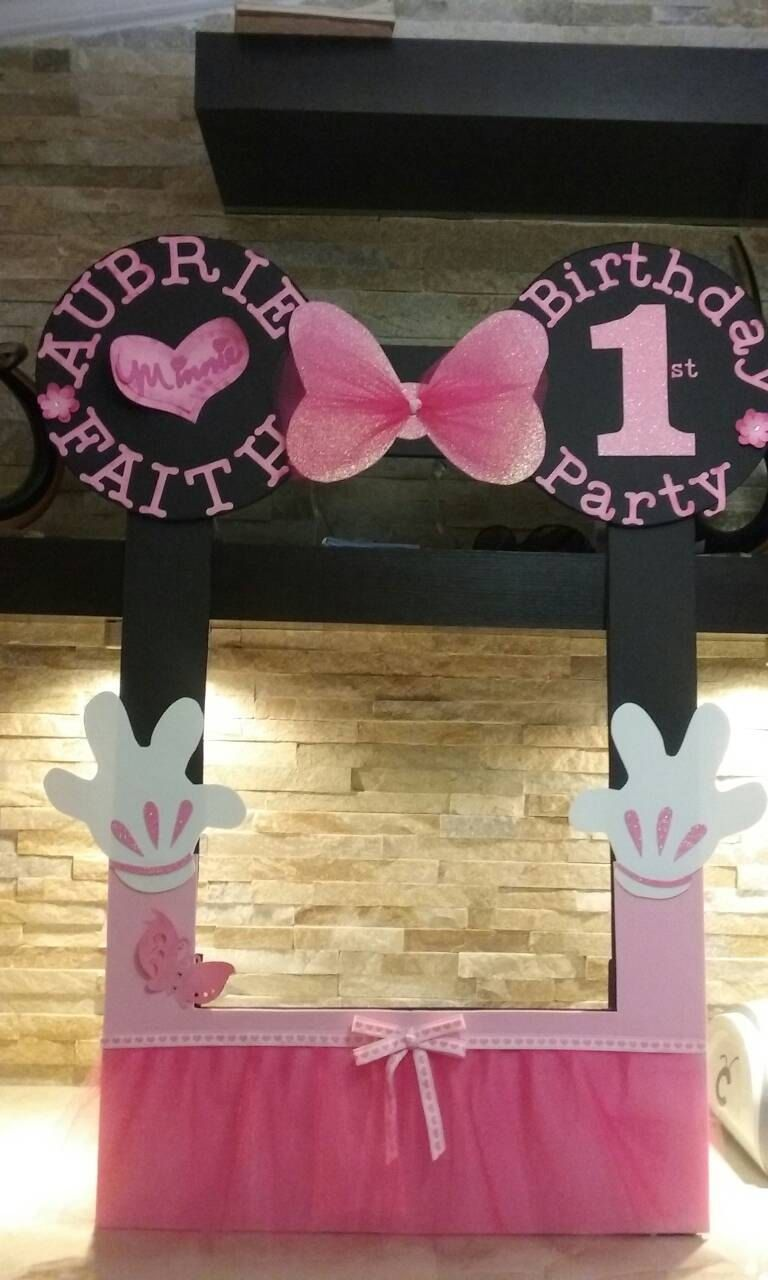 Minnie Mouse Photo Booth Frame Happy 1st Birthday